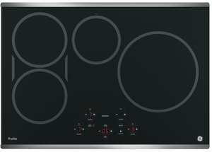 """PHP9030SJSS GE Profile Series 30"""" Built-In Touch Control Induction Cooktop with 4 Induction Elements - Black with Stainless Steel Trim"""