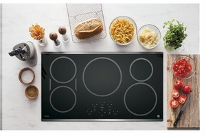 "PHP9036SJSS GE Profile Series 36"" Built-In Touch Control Induction Cooktop with 5 Induction Elements - Black on Stainless Steel"