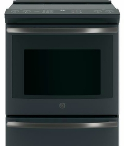 "PHS930FLDS GE 30"" Profile Series Slide-In Front Control Induction Range with Auto Self Clean and True European Convection Oven - Black Slate"