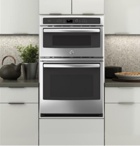"""PK7800SKSS GE Profile 27"""" Built-in Combination Double Wall Oven/Microwave with Steam Self-clean option and True European Convection - Stainless Steel"""