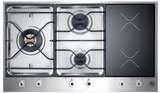 "PM363I0X Bertazzoni Design Series 3-Burner Segmented 36"" Gas Cooktop - 2 Induction - Stainless Steel"