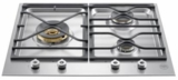 "PMB24300X Bertazzoni 24"" Gas Cooktop with 3 Sealed Brass Burners 18,000 BTU Power Burner Cast Iron Continuous Grates - Stainless Steel"