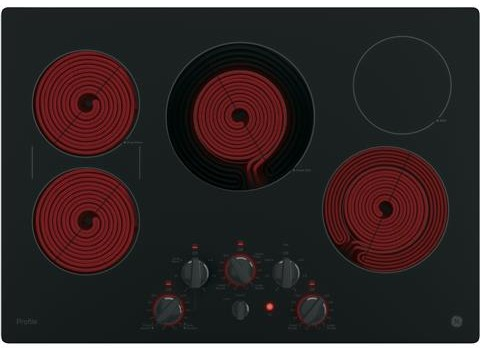 "PP7030DJBB GE Profile Series 30"" Built-In Knob Control Electric Cooktop with 5 Radiant Elements - Black"