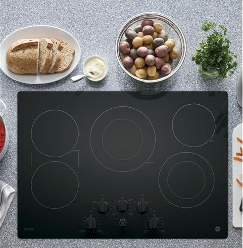 """PP7030DJBB GE Profile Series 30"""" Built-In Knob Control Electric Cooktop with 5 Radiant Elements - Black"""