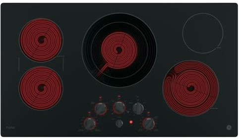 "PP7036DJBB GE Profile Series 36"" Built-In Knob Control Cooktop with Five Cooking Elements - Black"