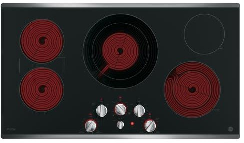 "PP7036SJSS GE Profile Series 36"" Built-In Knob Control Cooktop with Five Cooking Elements - Black with Stainless Steel Trim"