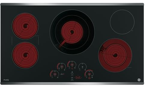 "PP9036SJSS GE Profile Series 36"" Built-In Touch Control Cooktop with Glide Touch Controls - Black with Stainless Steel Trim"