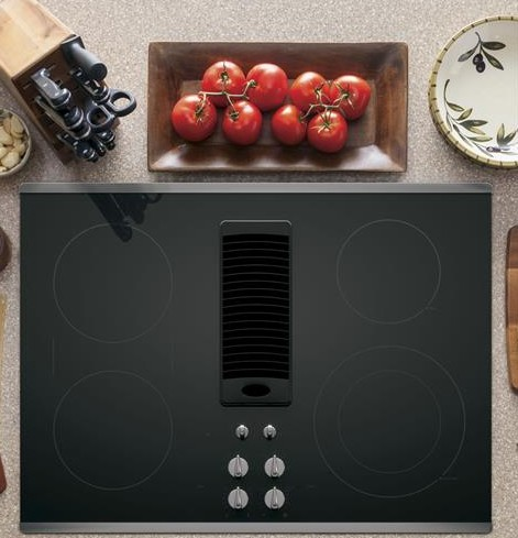 "PP9830SJSS GE Profile Series 30"" Downdraft Electric Cooktop with Bridge Element - Black with Stainless Steel Trim"
