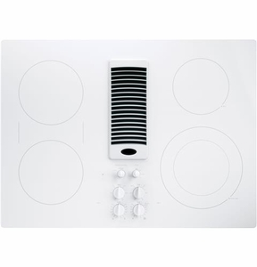 "PP9830TJWW GE Profile Series 30"" Downdraft Electric Cooktop with Bridge Element - White"