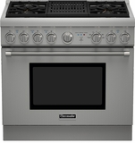 "PRD364NLHU Thermador 36"" Professional Series Pro Harmony Standard Depth Dual Fuel Range with (4) Burners & Grill - Stainless Steel"
