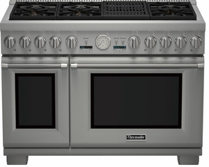 """PRD484NCHU Thermador 48"""" Professional Series Pro Harmony Standard Depth Dual Fuel Range with (4) Burners, Griddle & Grill - Stainless Steel"""