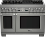 "PRD484NCHU Thermador 48"" Professional Series Pro Harmony Standard Depth Dual Fuel Range with (4) Burners, Griddle & Grill - Stainless Steel"