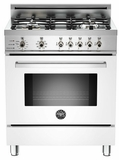 "PRO304DFSBI Bertazzoni Professional Series 30"" Dual Fuel Self-Clean 4 Gas Burner Range + Electric Oven - White"