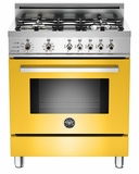 "PRO304DFSGI Bertazzoni Professional Series 30"" Dual Fuel Self-Clean 4 Gas Burner Range + Electric Oven - Yellow"