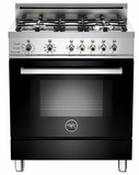 "PRO304DFSNE Bertazzoni Professional Series 30"" Dual Fuel Self-Clean 4 Gas Burner Range + Electric Oven - Black"