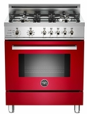 "PRO304DFSRO Bertazzoni Professional Series 30"" Dual Fuel Self-Clean 4 Gas Burner Range + Electric Oven - Red"