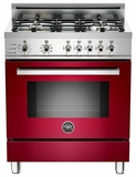 "PRO304DFSVI Bertazzoni Professional Series 30"" Dual Fuel Self-Clean 4 Gas Burner Range + Electric Oven - Wine"