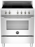 """PRO304INMXE Bertazzoni 30"""" Freestanding Electric Range with 4 Induction Burners European Convection Cooking - Stainless Steel"""