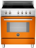 "PRO304INSAR Bertazzoni 30"" Freestanding Electric Range with 4 Induction Burners European Convection Cooking - Orange"