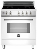 "PRO304INSBI Bertazzoni 30"" Freestanding Electric Range with 4 Induction Burners European Convection Cooking - White"