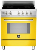 """PRO304INSGI Bertazzoni 30"""" Freestanding Electric Range with 4 Induction Burners European Convection Cooking - Yellow"""
