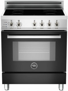 "PRO304INSNE Bertazzoni 30"" Freestanding Electric Range with 4 Induction Burners European Convection Cooking - Black"