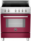 "PRO304INSVI Bertazzoni 30"" Freestanding Electric Range with 4 Induction Burners European Convection Cooking - Burgundy"