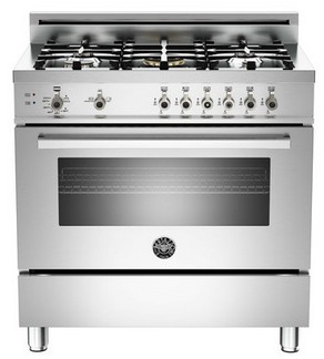 "PRO365GASX Bertazzoni Professional Series 36"" All Gas Range - 5 Burners - Stainless Steel"