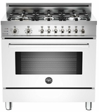 "PRO366DFSBI Bertazzoni Professional Series 36"" Dual Fuel  6 Gas Burner Range + Electric Self Clean Oven - White"