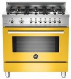 "PRO366DFSGI Bertazzoni Professional Series 36"" Dual Fuel  6 Gas Burner Range + Electric Self Clean Oven - Yellow"