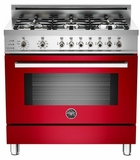 "PRO366DFSRO Bertazzoni Professional Series 36"" Dual Fuel  6 Gas Burner Range + Electric Self Clean Oven - Red"