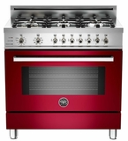 "PRO366DFSVI Bertazzoni Professional Series 36"" Dual Fuel  6 Gas Burner Range + Electric Self Clean Oven - Wine"