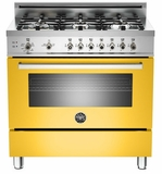 "PRO366GASGI01 Bertazzoni Professional Series 36"" All Gas Range - 6 Burners - Yellow"