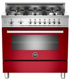 "PRO366GASRO01 Bertazzoni Professional Series 36"" All Gas Range - 6 Burners - Red"