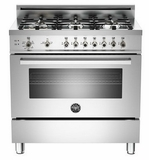 "PRO366GASX01 Bertazzoni Professional Series 36"" All Gas Range - 6 Burners - Stainless Steel"
