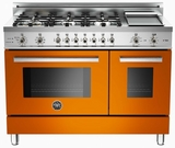 "PRO486GDFSAR Bertazzoni Professional Series 48"" Dual Fuel 6 Burner Gas Range with Electric Double Oven and Griddle - Orange"