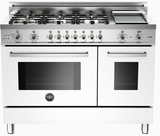 "PRO486GDFSBI Bertazzoni Professional Series 48"" Dual Fuel 6 Burner Gas Range with Electric Double Oven and Griddle - White"