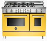 "PRO486GDFSGI Bertazzoni Professional Series 48"" Dual Fuel 6 Burner Gas Range with Electric Double Oven and Griddle - Yellow"