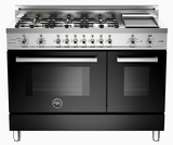 "PRO486GDFSNE Bertazzoni Professional Series 48"" Dual Fuel 6 Burner Gas Range with Electric Double Oven and Griddle - Black"