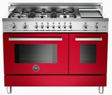 "PRO486GDFSRO Bertazzoni Professional Series 48"" Dual Fuel 6 Burner Gas Range with Electric Double Oven and Griddle - Red"