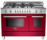 "PRO486GDFSVI Bertazzoni Professional Series 48"" Dual Fuel 6 Burner Gas Range with Electric Double Oven and Griddle - Wine"