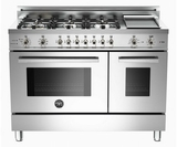 "PRO486GDFSX Bertazzoni Professional Series 48"" Dual Fuel 6 Burner Gas Range with Electric Double Oven and Griddle - Stainless Steel"