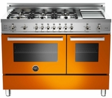 "PRO486GGASAR01 Bertazzoni Professional Series 48"" All Gas Range with 6 Burners, Double Oven and Griddle  - Orange"
