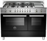 "PRO486GGASNE01 Bertazzoni Professional Series 48"" All Gas Range with 6 Burners, Double Oven and Griddle - Black"