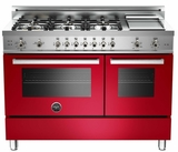 "PRO486GGASRO01 Bertazzoni Professional Series 48"" All Gas Range with 6 Burners, Double Oven and Griddle - Red"