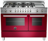 "PRO486GGASVI01 Bertazzoni Professional Series 48"" All Gas Range with 6 Burners, Double Oven and Griddle - Wine"