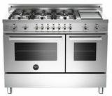 "PRO486GGASX01 Bertazzoni Professional Series 48"" All Gas Range with 6 Burners, Double Oven and Griddle - Stainless Steel"
