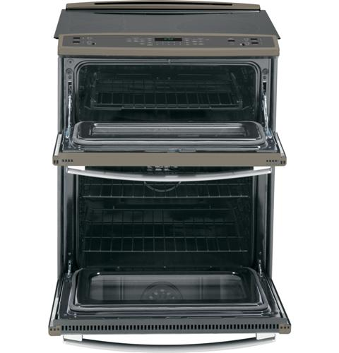 """PS950EFES GE Profile Series 30"""" Slide-In Double Oven Electric 6.6 Cu. Ft. Convection Range - Slate"""