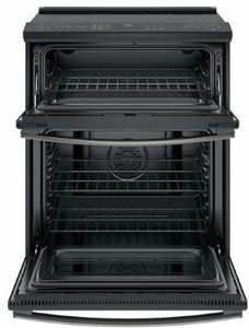 "PS960FLDS GE 30"" Profile Series Slide-In Front Control Double Oven Electric Range with WiFi Connect and True European Convection Oven - Black Slate"