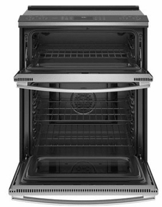 """PS960SLSS GE 30"""" Profile Series Slide-In Front Control Double Oven Electric Range with WiFi Connect and True European Convection Oven - Stainless Steel"""